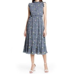 NWT Ted Baker Toppaz Oracle Plisse Dress Gray 8